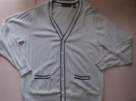 Blue long sleeve Cardigan sweater button up sweater Oscar De La Renta sweater LG - $33.31