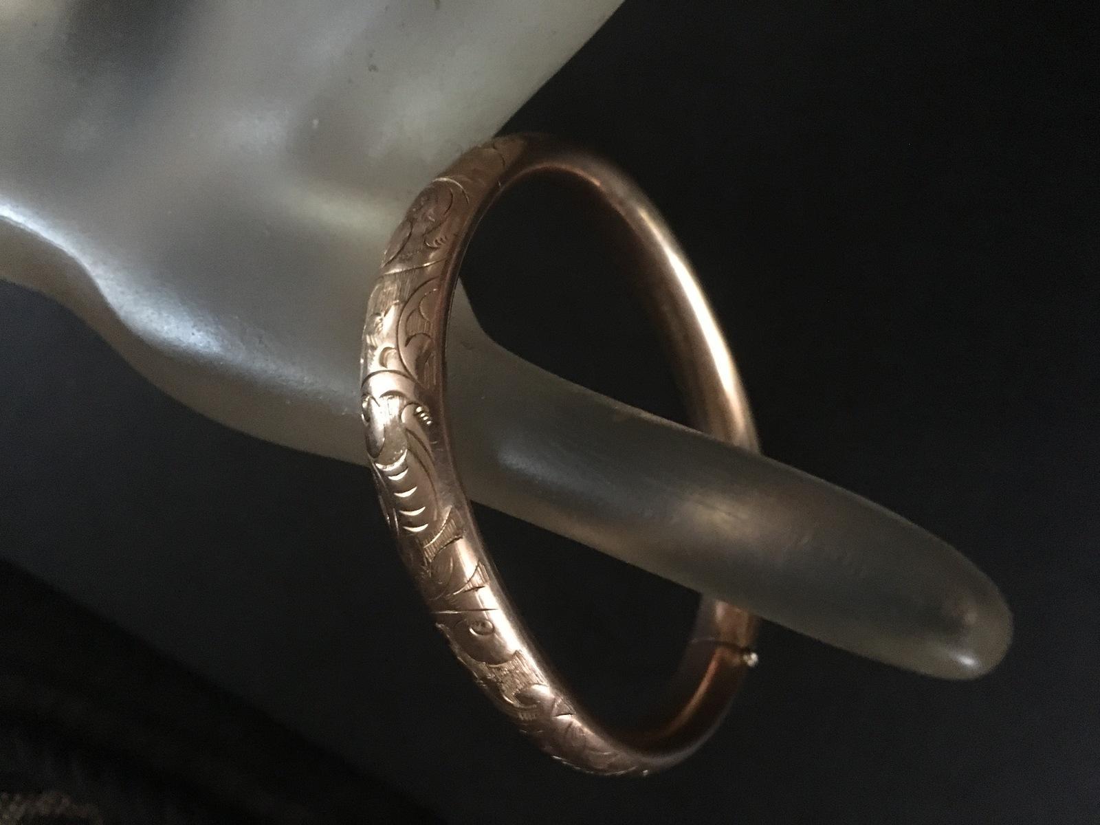 Antique Victorian 14K Gold Filled Bangle Bracelet Pat'd Dec 26, 1905 Bates Bacon