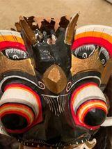 "Vintage Asian Tribal Mask Hand Carved Wood Wall Art East Java Indonesia 41x11"" image 12"