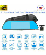 "7"" Dash Camera Dual Lens Front/Rear Full HD 1080P Mirror Monitor Car Veh... - $57.95"