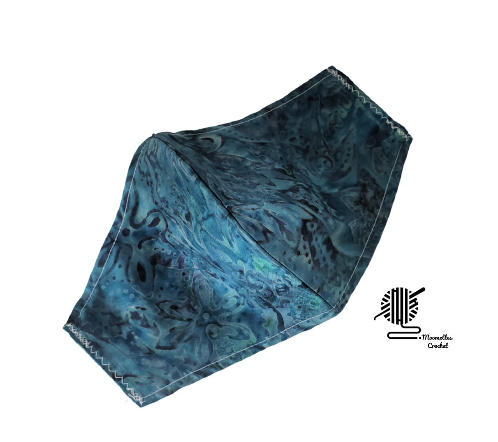 Primary image for Face Mask Cobalt Blue Batik Cotton Facemask Washable Abstract Handmade USA