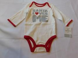 """Carter's Baby Girl's Long Sleeve Body Suit White """"Santa Loves Me"""" Size Variation - $28.57"""
