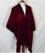 CHICOS Cape S/M P/M Red Geometric Print Cotton Blend MACHINE WASH - $90.00