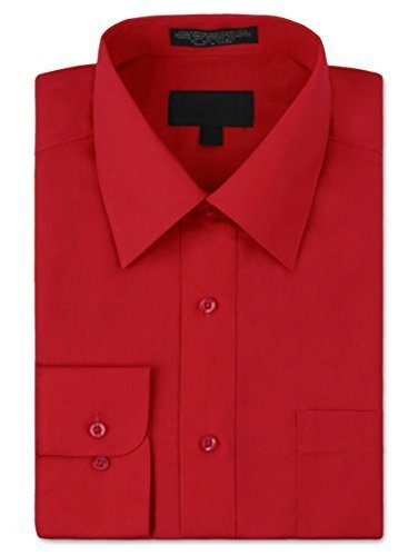 Men's Premium Long Sleeve Dress Shirt Solid Color Regular Fit