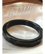 Vintage Carved Black 409 Tested Bakelite Plastic Bangle Bracelet – 2.5 i... - $28.84