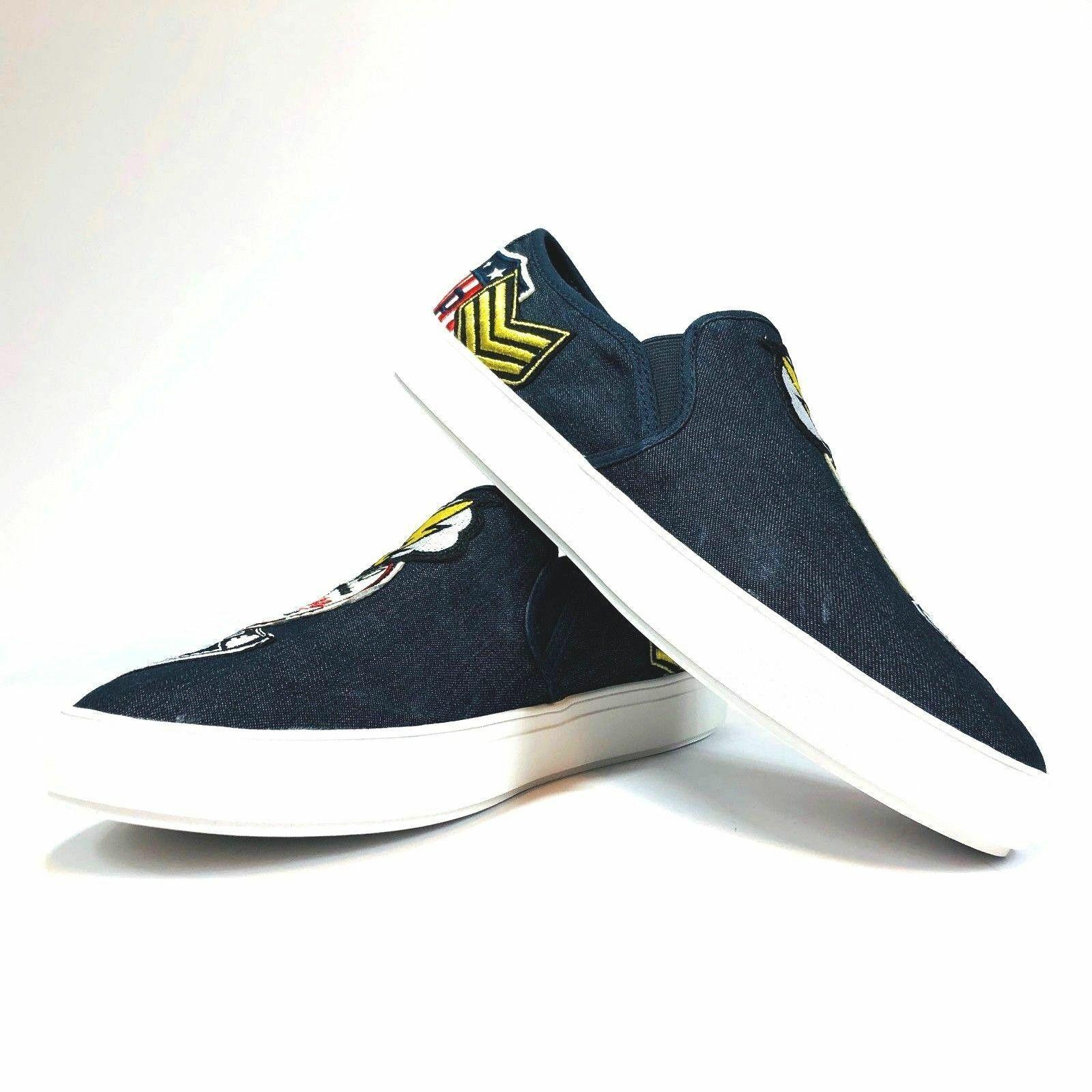 Steve Madden Wasdin Navy Blue or Military Denim Slip On Loafers Mens Vintage image 14
