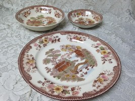 Vintage Brown Ritchie Oriental Gardens, Variant Gaudy Blue Willow 3pc Di... - $47.45