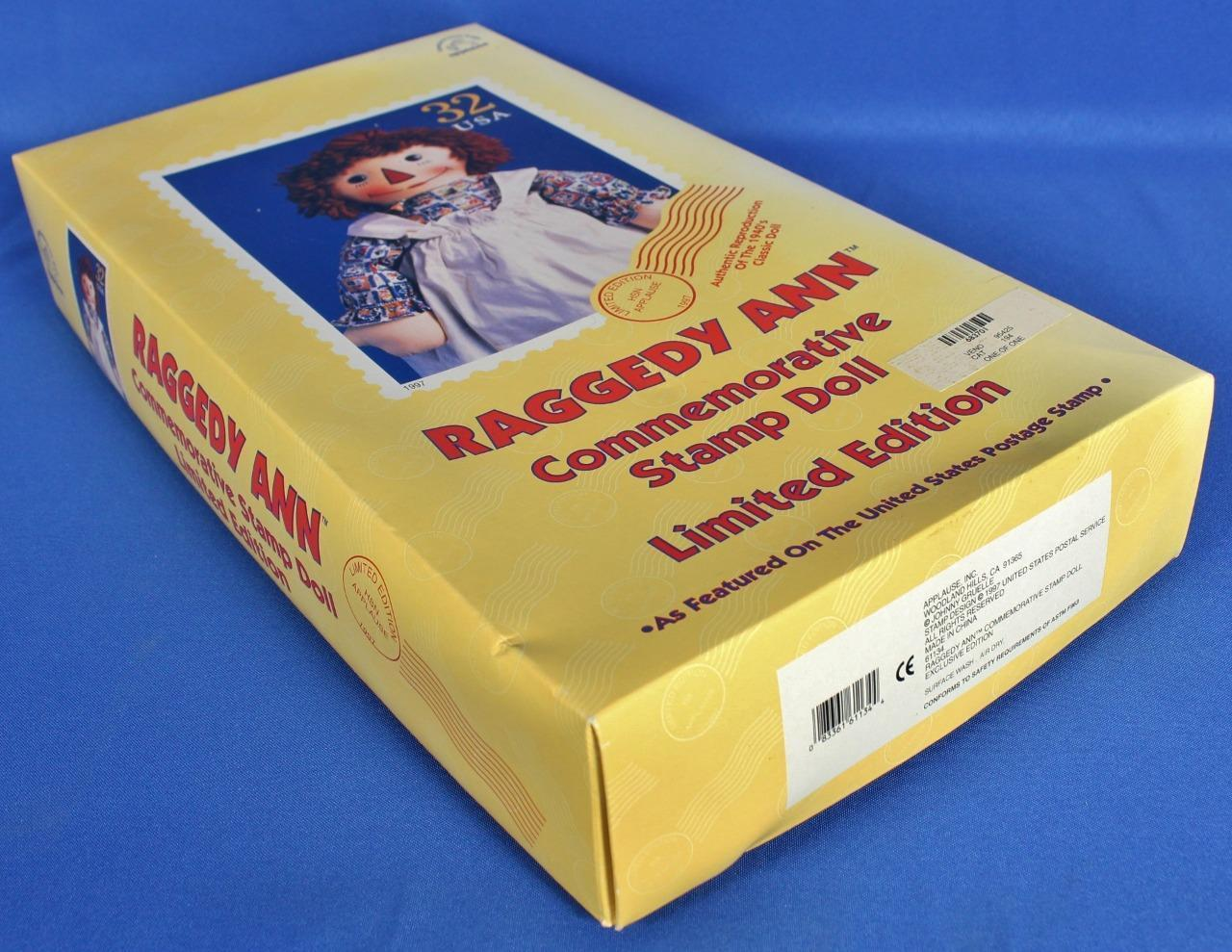 "Raggedy Ann Doll Commemorative Stamp 17"" Limited Edition 1997 Applause w/ Box image 2"