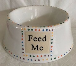"""Stoneware Dog Bowl Dish Petrageous White Beaded Inverted 6"""" FEED ME - $21.77"""