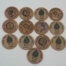 Vintage Lot of 13 Wooden Nickel Advertising - $14.84