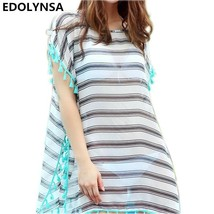 New Arrivals Beach Cover up Striped Chiffon Swimwear Ladies Sun Bath Kaf... - $19.95