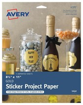 """Avery Full-Sheet Sticker Project Paper Gold 8-1/2"""" x 11"""" Pack of 5 (4395) - $9.15"""