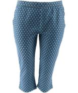 Susan Graver Weekend Printed French Knit Capri Pants, Navy Green,Size XL... - $24.74