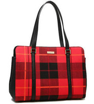 NWT KATE SPADE Miles Newbury Lane Plaid Red Black $329 Large Tote Bag Pu... - ₨14,733.64 INR
