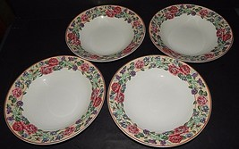 4  Fitz & Floyd Omnibus Brittany Stoneware Soup Bowls Roses Floral Gold 1995 - $49.49