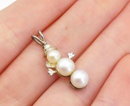 925 Sterling Silver - Vintage Freshwater Pearls Winter Snowman Pendant -... - $22.54