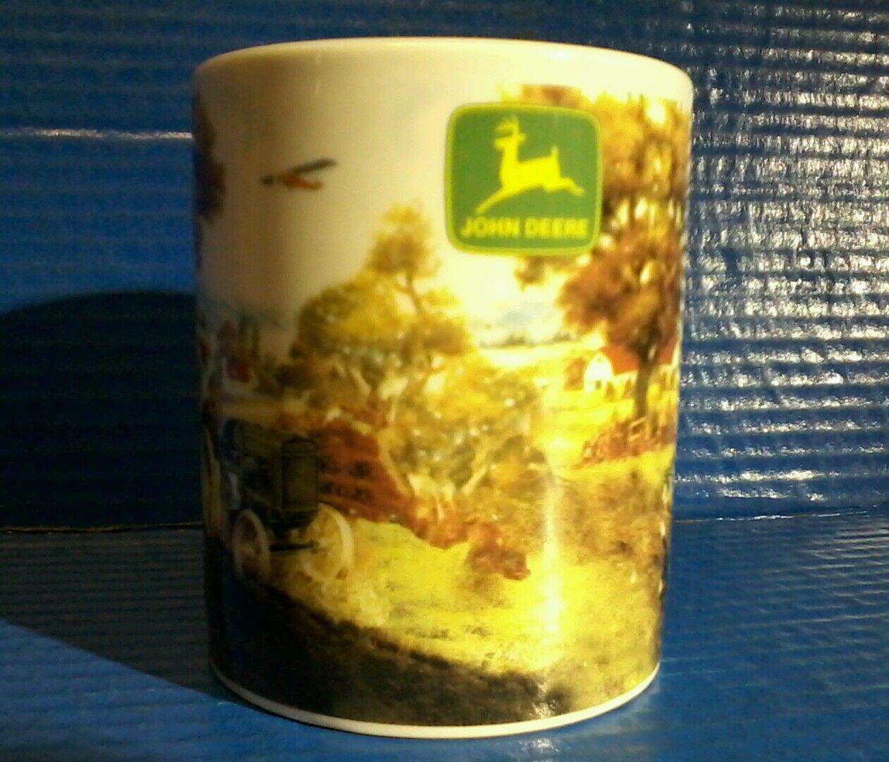 John Deere Tractor & Airplane Farm Dog Ceramic Coffee Mug Cup Gibson Collectible