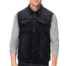 CS Men's Ripped Distressed Button Up Denim Jean Vest Removable Hood Slim Fit image 5