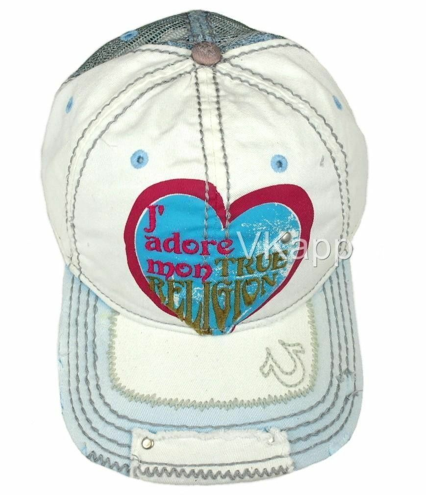True Religion Vintage Unisex Distressed Buddha Trucker Hat Cap Off White TR1486
