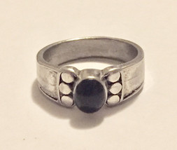Vintage 10K white gold black onyx ring - size 7 - $159.00