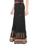 Red Zig Zag Border Crush Jaipuri Skirt - $25.75
