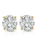 1/3ct Diamond Studs 14K Yellow Gold Finish 925 Sterling Silver - £30.75 GBP