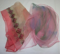 Lot 2pcs Vtg Sheer Scarf Scarves Pink Abstract Retro Floral Geometric - £16.82 GBP