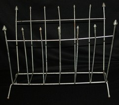 Vtg Metal Magazine Rack Atomic Mid Century Modern Arrows Newspaper - $31.60