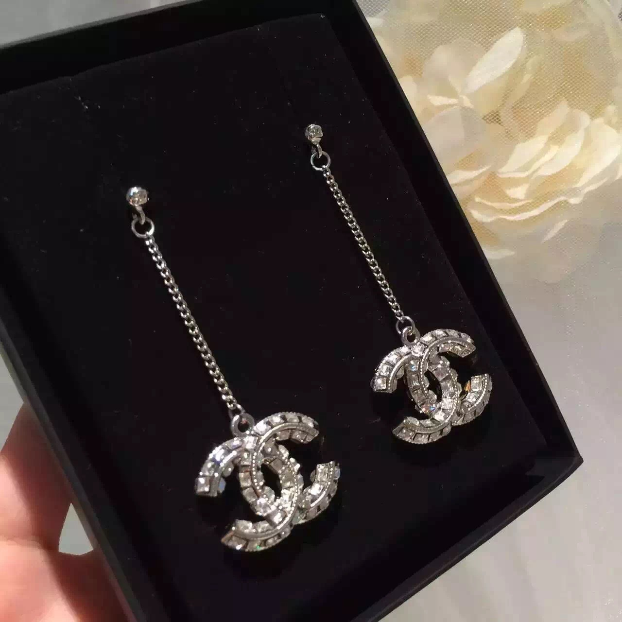 100% Auth Chanel 2016 Large Cc Dangle Drop Crystal Earrings Strass Limited  Ed