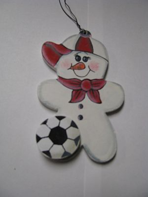 WD1058 - Soccer Snowman Wood Christmas Ornament