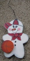 WD1059 - Basketball Snowman Wood Christmas Orna... - $1.75