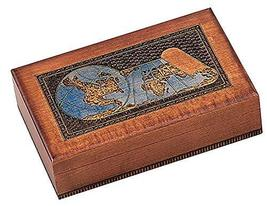 WORLD MAP BOX w/ Detailed World Globe Motif, Handmade Linden Wood Keepsake Jewel - $45.53