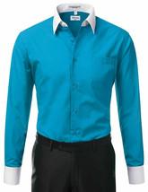 Berlioni Italy Men's Classic White Collar & Cuffs Two Tone Dress Shirt - XL image 2