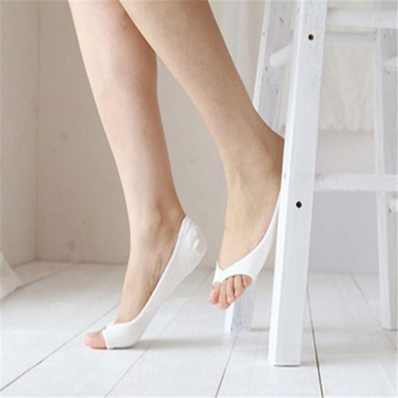 Women Cotton Peep Toe Shoes Socks Invisible Low Cut Sock image 4