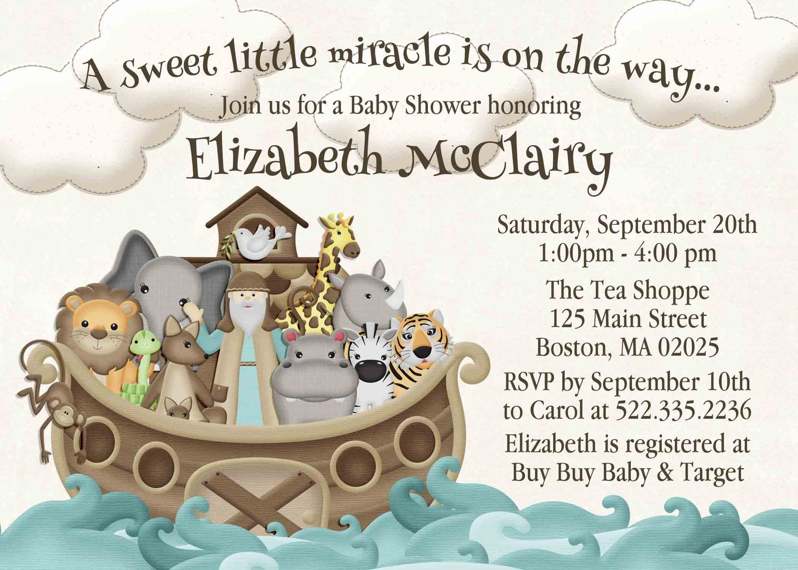 Noah\'s Ark Baby Shower Set, Invite, Bring a and 50 similar items