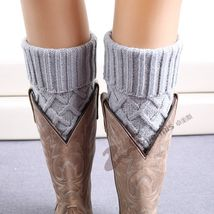 Women Knit Boot Cuff Rhombus Grid Knited Leg Warmers Short Boot Socks - $10.00