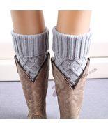 Women Knit Boot Cuff Rhombus Grid Knited Leg Warmers Short Boot Socks - $10.00