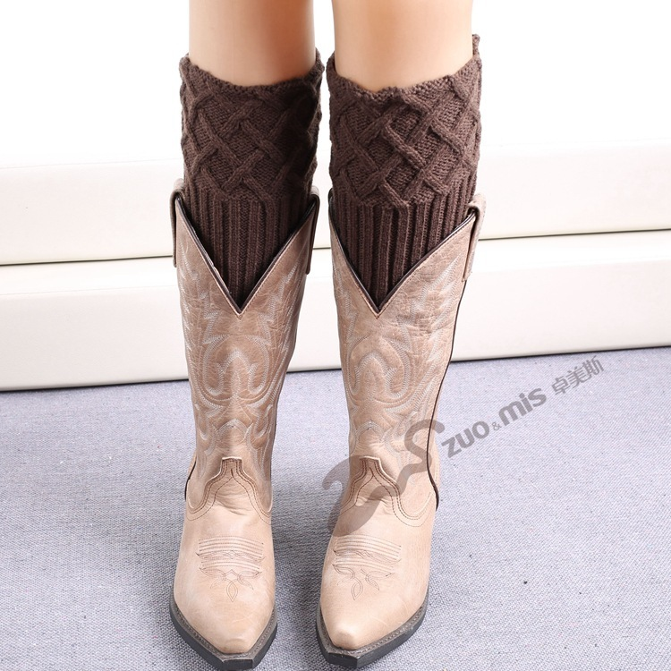 Women Knit Boot Cuff Rhombus Grid Knited Leg Warmers Short Boot Socks