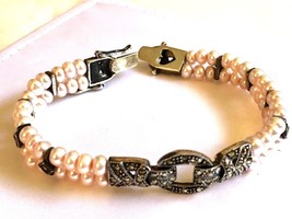 STERLING SILVER 925 MARCASITE PINK PEARL TWO ROW LINK BRACELET BOX CLASP... - $123.75