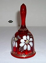 Fenton 1999 Ruby Gilded Daisy Hp Bell Retired 1052/2500 image 4