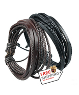 1 Pcs Wrap Leather Bracelets For Men And Women Black or Brown Rope Braided - $13.00