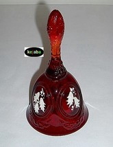 Fenton Holly On Ruby Medallion Bell Hand Painted No. 2 - $19.95