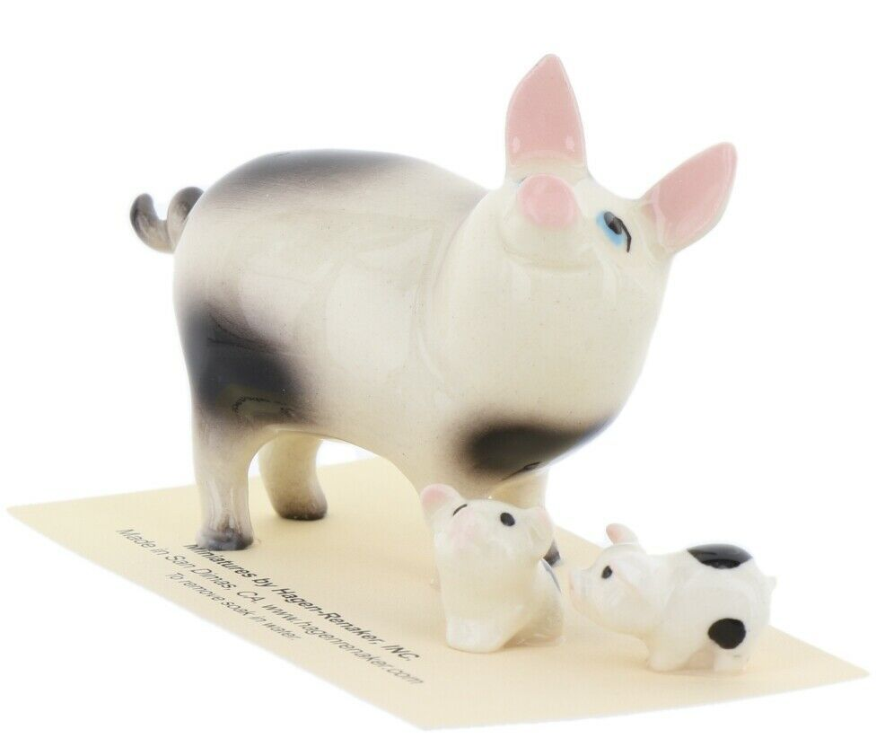 Hagen Renaker Miniature Pig Black and White Papa and Piglets - Set of 3