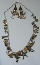 Vintage Mary Demarco LA CONTESSA Charm Necklace and Earring Set Beach Se... - €56,87 EUR