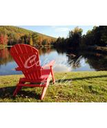 Vermont Fall Foliage Red Chair Lake Nature 5x7 Original Landscape Photo - $9.99