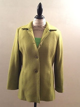 Vintage Jacket Basket-Weave Chartreuse Lined Wool-Talbots on-seam  pocke... - $54.24