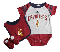 Infant Cleveland Cavaliers Creeper Set 'Lil Player Bodysuit Bib Booties NBA Baby