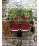 WATERMELON Ceramic Summer Summertime Salt and Pepper Shakers + Bonus Mag... - $14.84