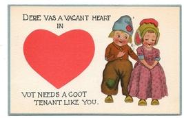 Dutch Kids Valentine Vacant Heart Needs Goot Tenant Like You Vintage Pos... - $6.99