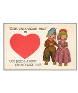 Dutch Kids Valentine Vacant Heart Needs Goot Tenant Like You Vintage Postcard - $6.99